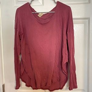 Free People Maroon Long Sleeve Top
